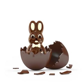 Pasen chocolade konijn in gebroken chocolade ei