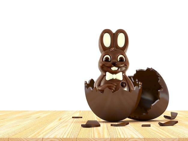 Pasen chocolade konijn in gebroken chocolade eierschaal