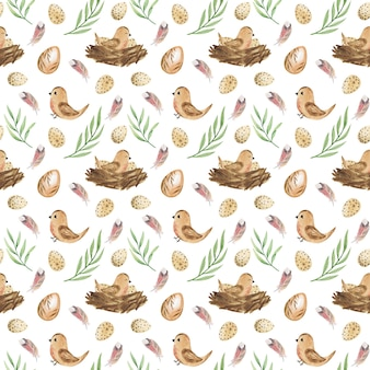 Pasen naadloze patroon aquarel paaseieren en vogels met nest digitaal papier lente patroon