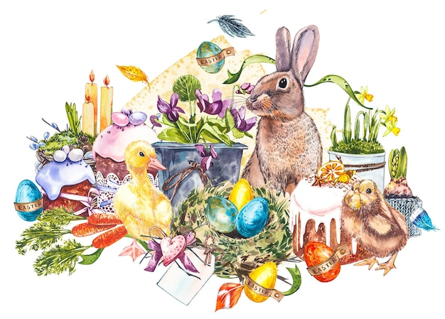 Pasen set en sjabloon illustraties met paaseieren