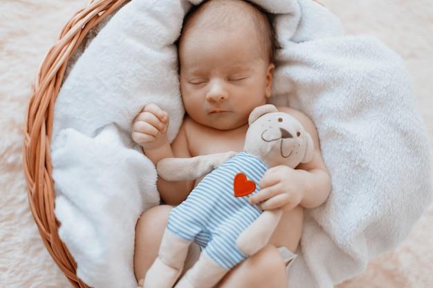 Pasgeboren baby met een knuffel slaapt in een babymand