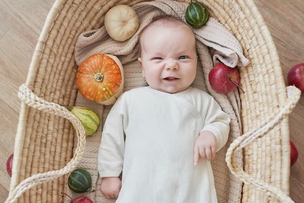 Pasgeboren babyjongen ligt in rieten wieg met pompoenen en appels. gelukkig moederschap en vaderschap. kraamkliniek en kliniek. vader en moeder dag. herfst achtergrond. dankzegging, halloween