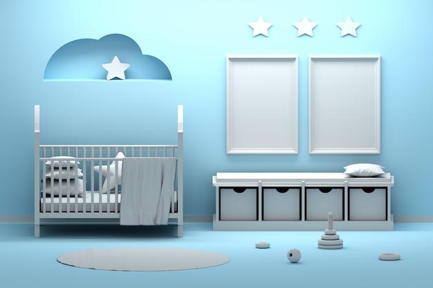 Pasgeboren babykamerinterieur met twee a4-frames in blauwe en witte kleuren