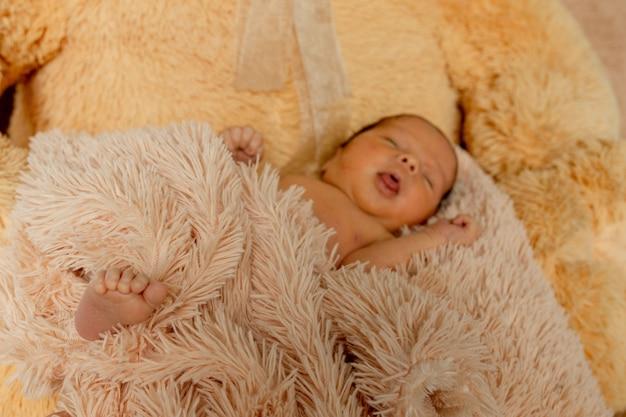 Pasgeboren babyslaap op teddybeer