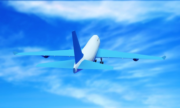 Passagiersvliegtuig dat tussen cumuluswolken hoog in de lucht vliegt tegen glans