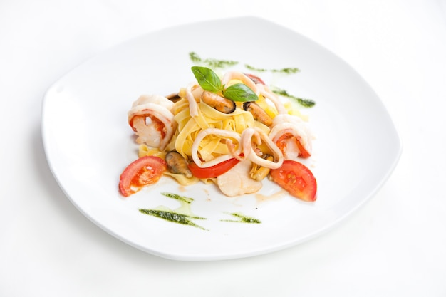 Pasta met zeevruchten, close-up foto