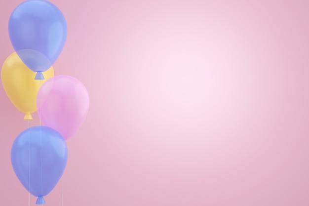 Pastel ballonnen drijvend op roze achtergrond. 3d-weergave.