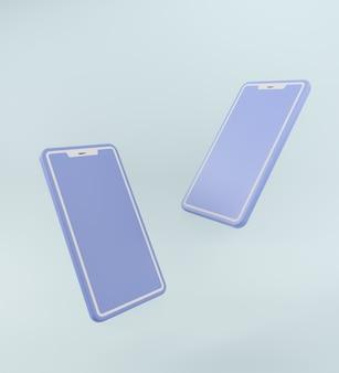 Pastel blauwe monochrome kleur. concept moderne 2 smartphones in het 3d teruggeven.