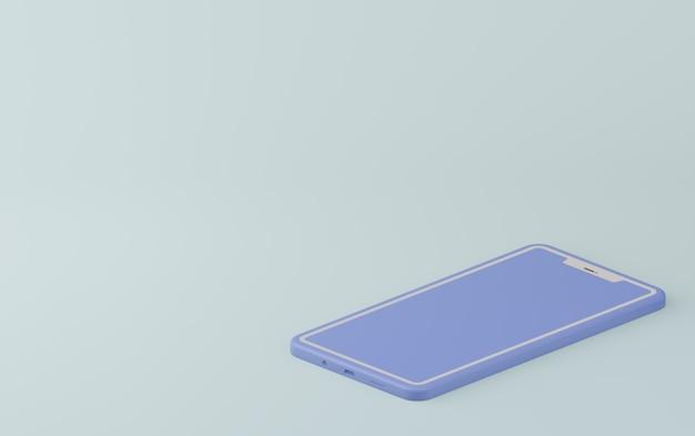 Pastel blauwe monochrome kleur. het concept moderne smartphone in 3d geeft illustratie terug.