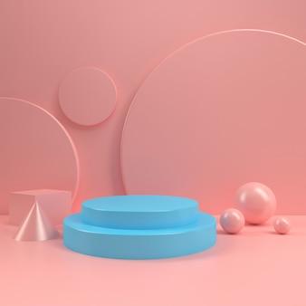 Pastel booth podium cirkel etalage tafel template mock up minimale houten wand samenstelling 3d-rendering
