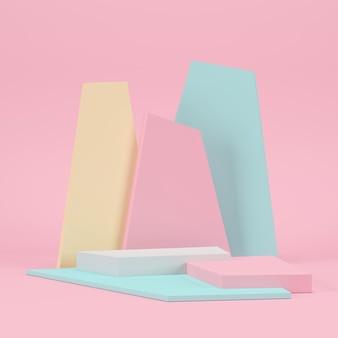 Pastel geometrisch podium voor product.