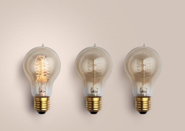 Pastel gloeilampen, creatief ideeënconcept.