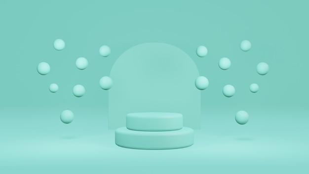 Pastel groen product podium met cilinder podium versierd met zwevende ballen, minimale stand voetstuk display achtergrond, geometrie vormen, mock up scene, 3d-rendering illustratie
