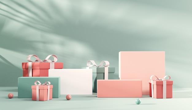 Pastel podium en laat schaduw op achtergrond met geschenkdoos voor productpresentatie.