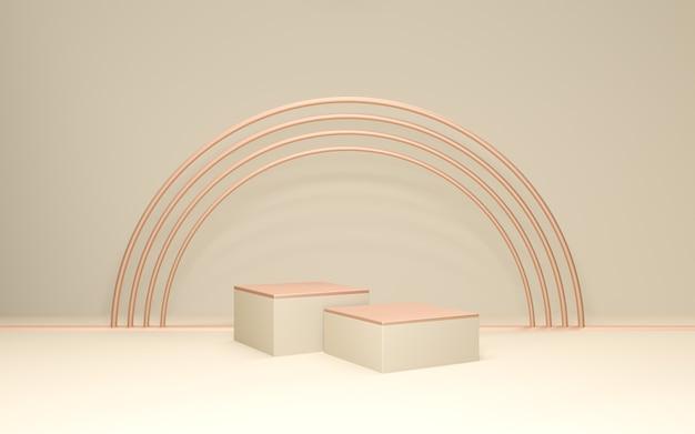 Pastel podium productstandaard met gouden boog