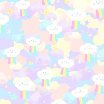 Pastel regenboog doodle hemel met glitters