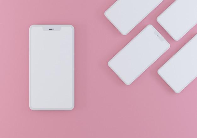 Pastel roze zwart-wit kleur. concept van moderne telefoons.
