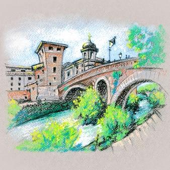 Pastel schets van tibereiland in rome, italië