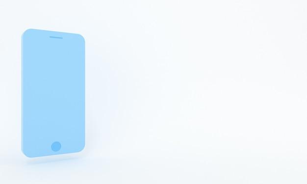 Pastelblauwe smartphone met label en ruimte voor tekst in minimalistische stijl concept van sociale media