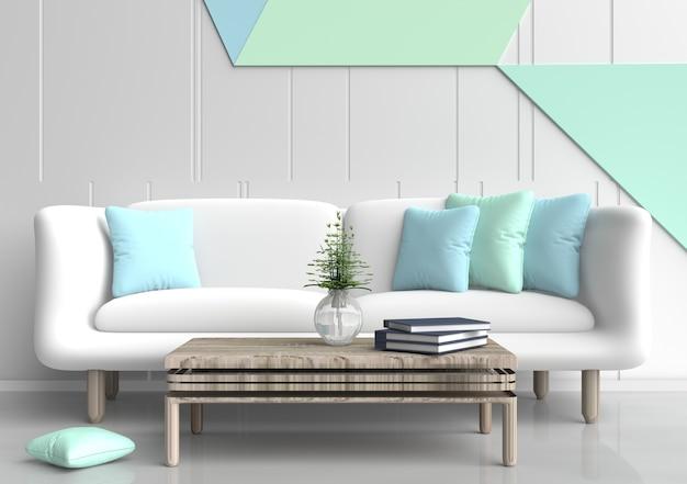 Pastelkamers zijn ingericht met een witte bank, lichtgroene en lichtblauwe kussens, een muur van pastel cement.