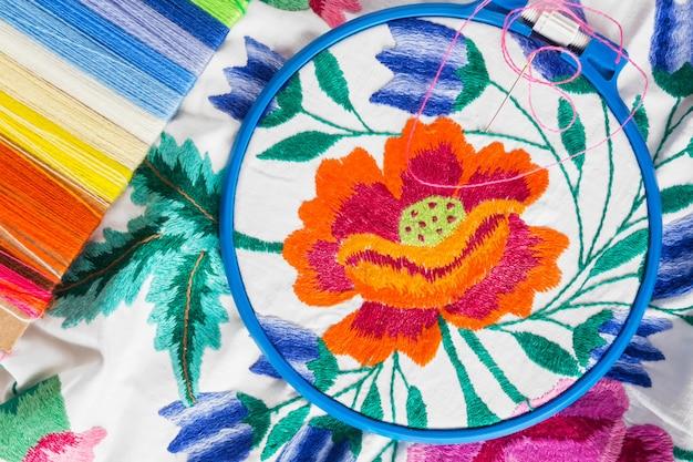 Pastelkleur achtergrond, naaister en designer bureau, handwerk accessoires, draad rol, schaar
