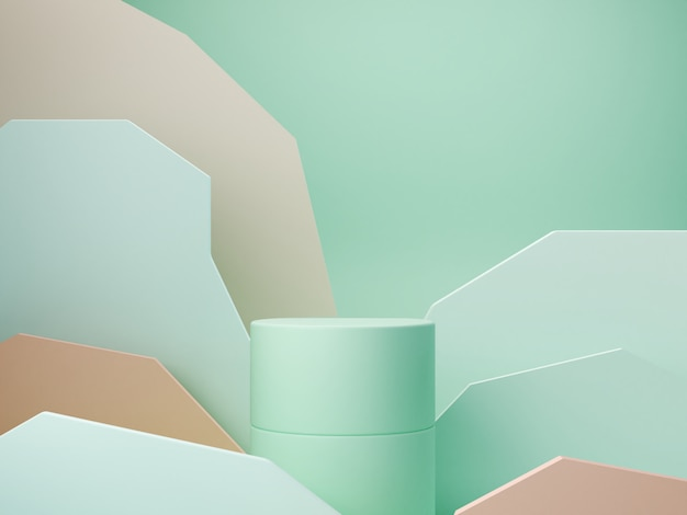 Pastelkleuren vormen op groene pastelkleuren abstracte achtergrond. minimaal dozenpodium. scène met geometrische vormen. lege vitrine voor presentatie van cosmetische producten. mode tijdschrift. 3d render.