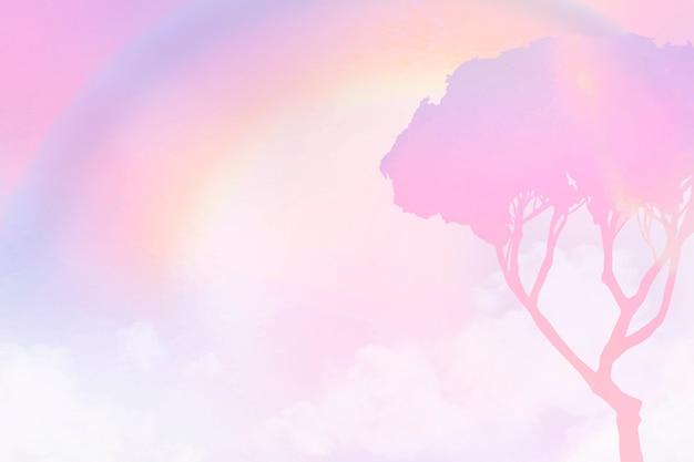 Pastelkleurige achtergrond met esthetische roze gradiëntboom