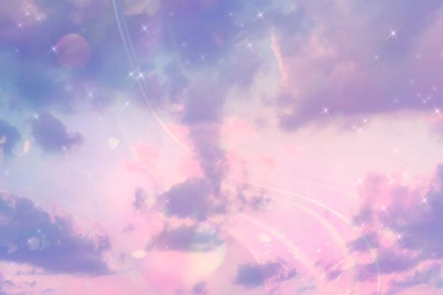 Pastelkleurige hemelachtergrond met tekstruimte