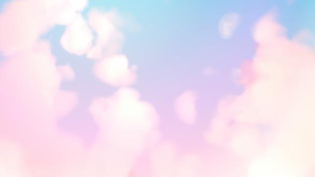 Pastelkleurige lucht met pluizige wolken