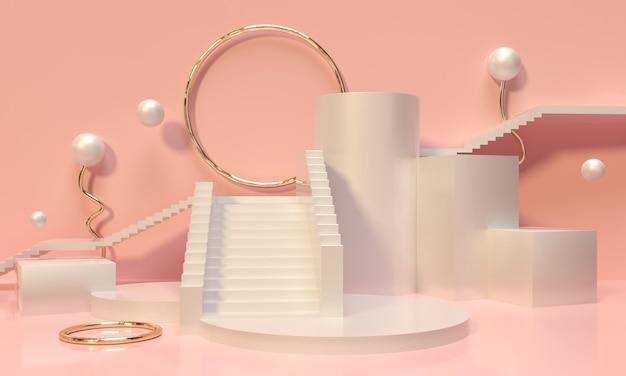 Pastelkleurige voetstuk, trap, plank en nis op roze achtergrond