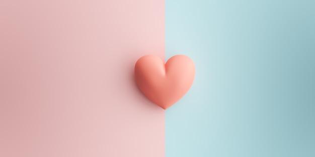 Pastelroze hart op de twee kleuren zijn pastelroze en blauw. het concept van valentine
