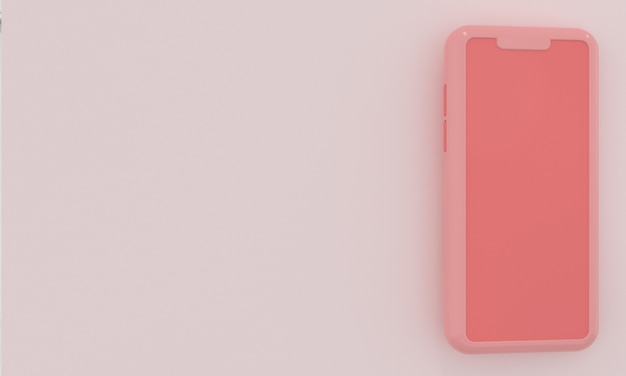 Pastelroze smartphone met ruimte voor tekst in minimalistische stijl social media netwerkreclame