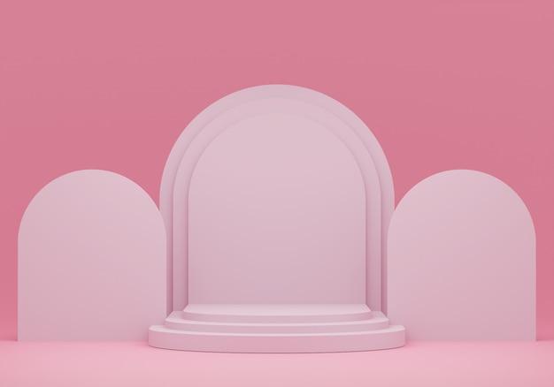 Pastelroze voetstuk voor weergave. lege productstandaard met geometrische vorm. 3d render.