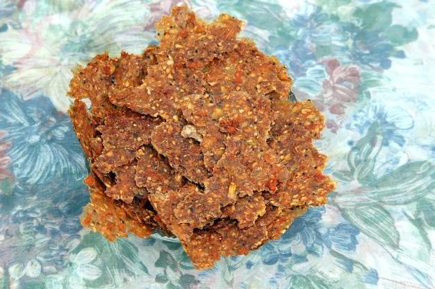 Pastille van gedroogd gehakt vers fruit