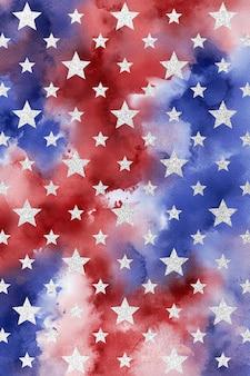 Patriottische achtergrond, digitaal aquarelpapier, sterpatroon, rood blauw wit