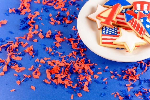 Patriottische cookies amerikaanse achtergrond