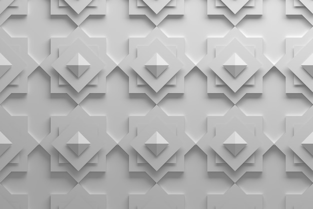 Patroon gemaakt met gedraaide vierkanten en piramides in witte kleur