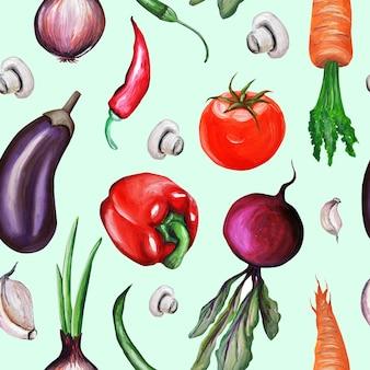Patroon. groenten met de hand getekend door aquarium. olieverf. champignons, wortelen, uien, bieten, avocado's, champignons, knoflook, broccoli, aubergine.
