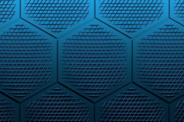 Patroon met grote zeshoeken en decoratief gaas in donkere blauwtinten.