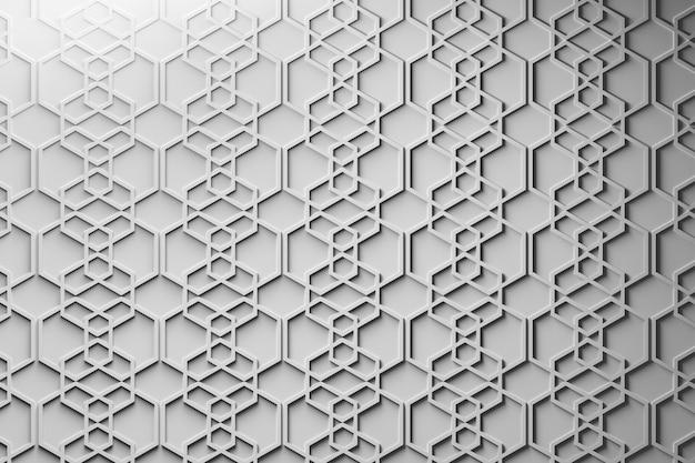 Patroon met herhalende zeshoeken. papiereffect gemaakt met geometrische vormen schikt over het oppervlak.