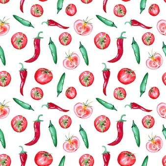 Patroon met tomaten en chili pepers