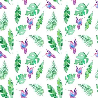 Patroon met tropische bladeren en kolibries