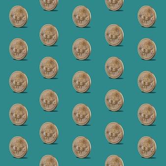 Patroon naadloos van gouden munten van bitcoins