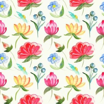 Patroon van abstracte bloemen in aquarel