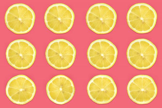 Patroon van citrusvruchten. verse organische plak rijpe citroen en limoen of limonade