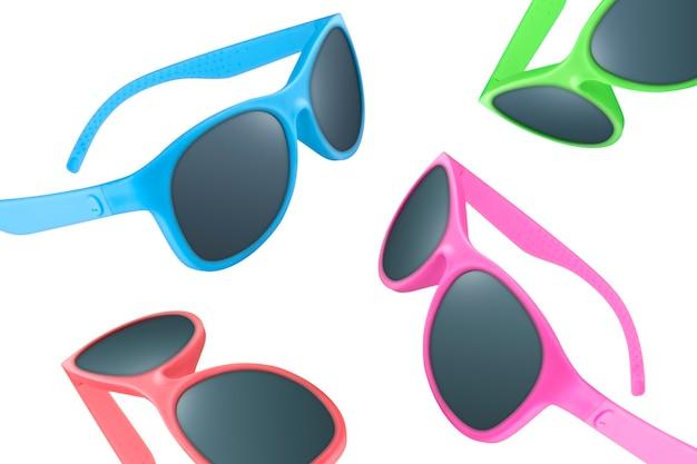 Patroon van een kleurrijke zonnebril voor een zonnige dag op wit