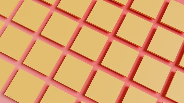 Patroon van gele blokjes op roze oppervlak