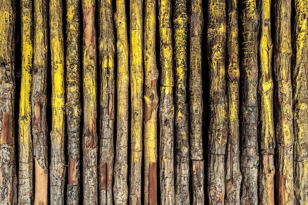 Patroon van kleine logboeken met goud en geel geschilderd ingericht op de muur.