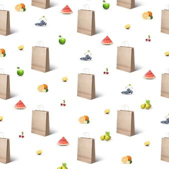 Patroon van papieren zakken en verschillende soorten fruit en bessen op een wit