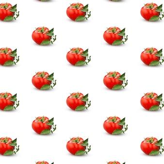 Patroon van rijpe tomaten met groene bladeren